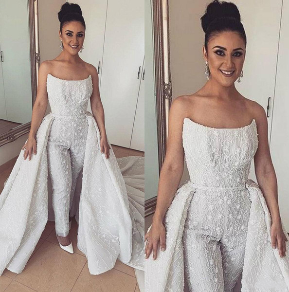 Luxury Jumpsuits Prom Dresses With Detachable Train Strapless Vestidos De Fiesta Appliqued Lace Evening Dresses with Overskirt 2019