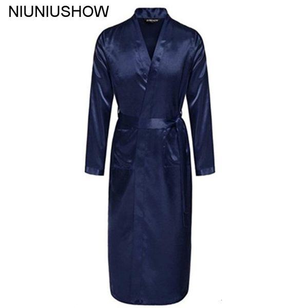 Navy Blue Chinese Men Silk Rayon Robe Summer Casual Sleepwear V-Neck Kimono Yukata Bath Gown Size S M L XL XXLMX190904