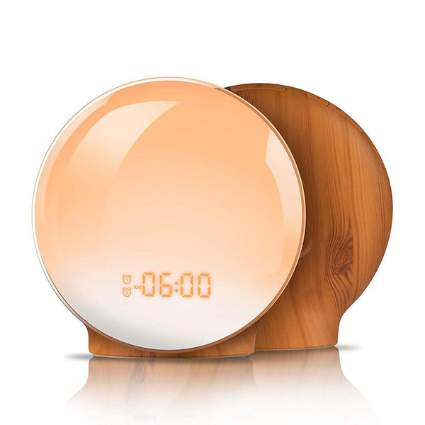 Fashion Wood Grain Plastic FM Radio 7 Colors LED Lamp Wake Up Light Alarm Clocks with Music for Bedrooms Kids Birthday Gifts