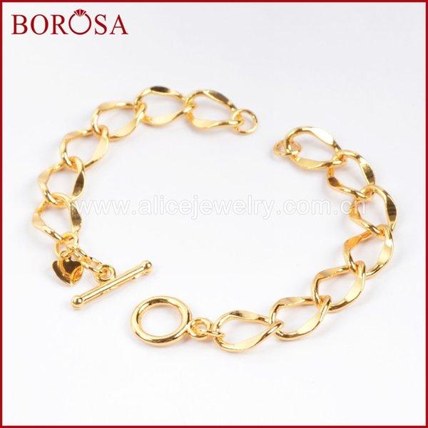 commercio all'ingrosso 4.4 '' colore oro rame finito catena a gancio OT trovando catena di colore oro braccialetto catena piatta catena toggle catenacci pj013