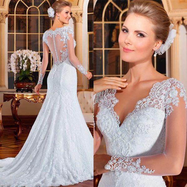 2019 New Elegant V-ausschnitt Volle Hülsen Spitze Bodenlangen Brautkleider Zipper Hofzug Perlen Meerjungfrau Trompete Vestidos De Novia