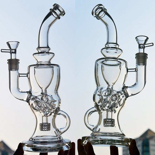 "FTK Thick Glass Water Bongs 11"" inches Showerhead Bong Double Recycler Rig Glass Pipes Swiss Perc Oil Rigs Bongs with 14.4mm Bowl Adapter"