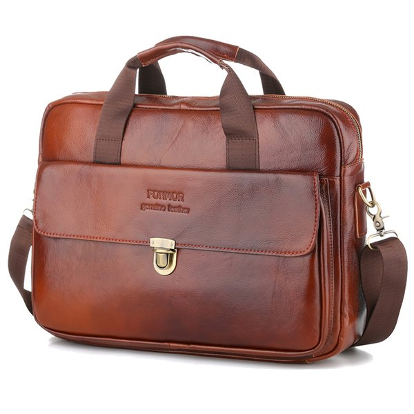 OYIXINGER 2019 New Genuine Leather 15 Inch Laptop Bag For Men's Business Briefcase Handbag Large Capacity Totes Zipper Hasp Bags