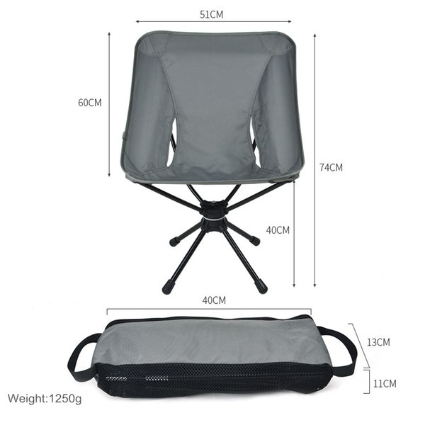360 rotating outdoor portable folding camping chair compact swivel seat for fishing bbq hunting hiking beach backpacking tools thumbnail