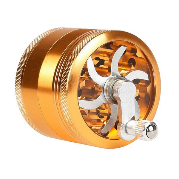 4 Parte 63mm Amoladoras manuales de aleación de aluminio Hierba Especias Trituradora de polen Trituradora Manivela Fumador Galleta 63mm