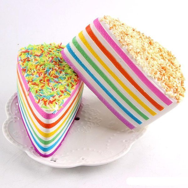 Low price 2018 Jumbo Rainbow Cake Decorate Squishy Crumble Fusion Kawaii Slow Rising Food Wedding Photography Toy Phone Strap T446