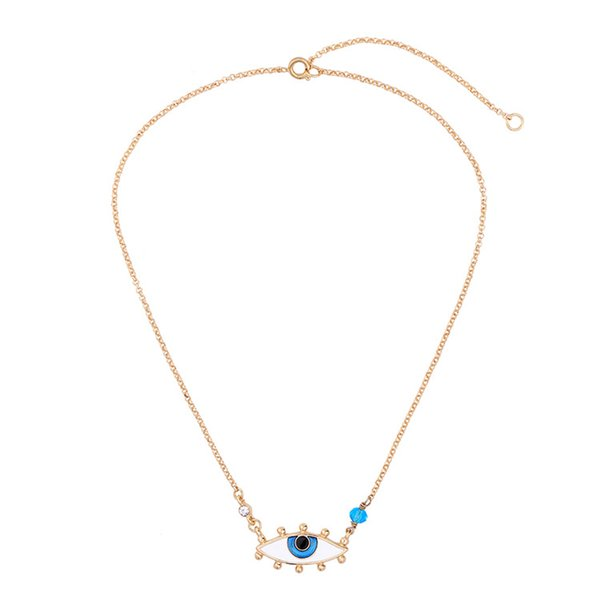 Turkish Classic Design Blue Evil Eye Necklace Pendant Gold Chain with Cubic Lucky Crystal Jewelry Free Shipping