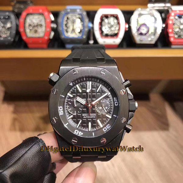Brand New Royal Diver 26703ST.OO.A027CA.01 mostrador preto Japão VK Quartz Chronograph Mens Watch caixa de aço preto pulseira de borracha Gents Watche