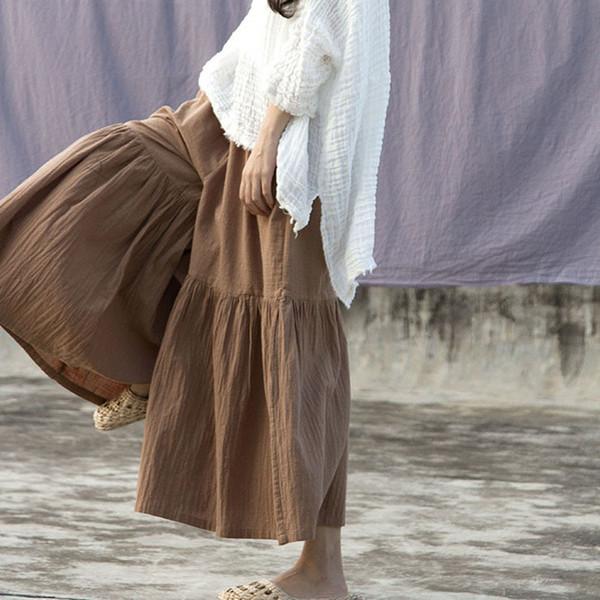 Johnature Cotton Linen Women Wide Leg Pants Elastic Waist 2019 Spring Plus Size Women Cloths Vintage Loose Casual Solid Pants Y19071701