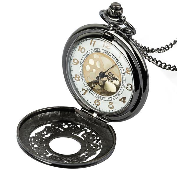 Roman Numerals Quartz Necklace Pocket Watch Vintage Bronze Steampunk Pocket Fob Watches Chain Men Women Clock
