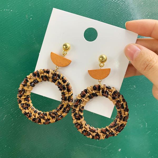 Trendy leopard long earrings for women bamboo party hanging big earings circle wood rattan vine statement female earring jewelry