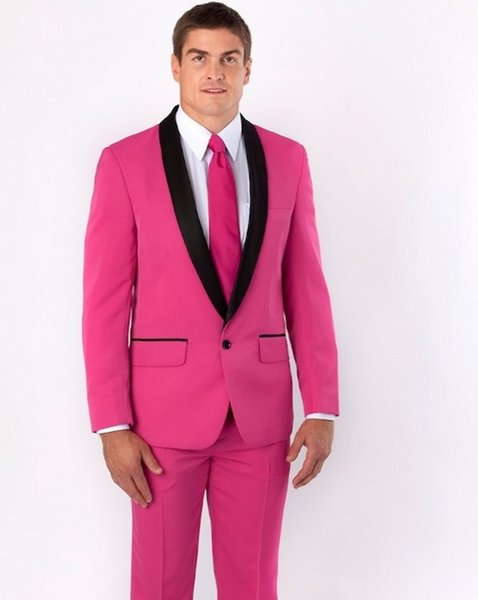 New Groomsmen Shawl Black Lapel Groom Tuxedos Hot Pink Men Suits Wedding Best Man Dinner Party Wear (Jacket+Pants+Tie)