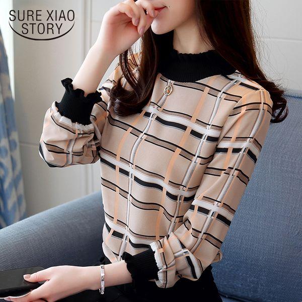 Neue 2019 Mode Lässig Gestreiften Plaid Chiffon Frauen Bluse Shirt Langarm Chiffon Damen Weibliche Tops Blusas Shirts 0715 40 Y190427