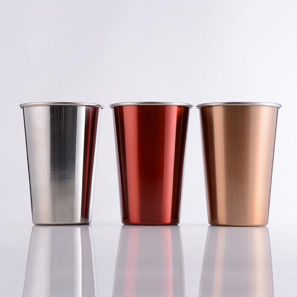 17 oz paslanmaz çelik kahve fincanı renkli su bardak 500 ml soğuk tutmak fincan taşınabilir içme gözlük A02