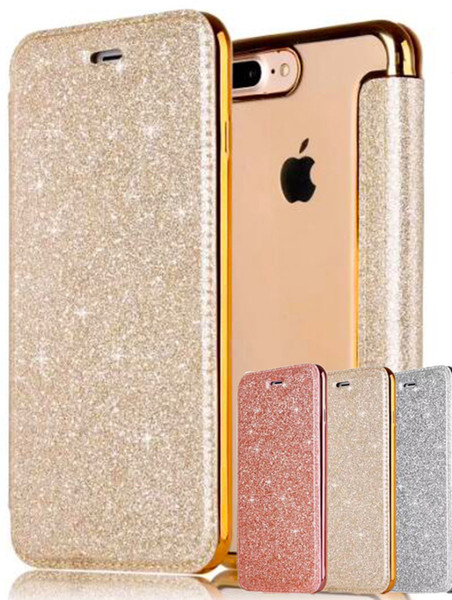 3d Glitter Wallet Case For Iphone X 8 Plus Silicone Case Hybrid Sparkle Leather Bag Shockproof Full Cover Phone Cases
