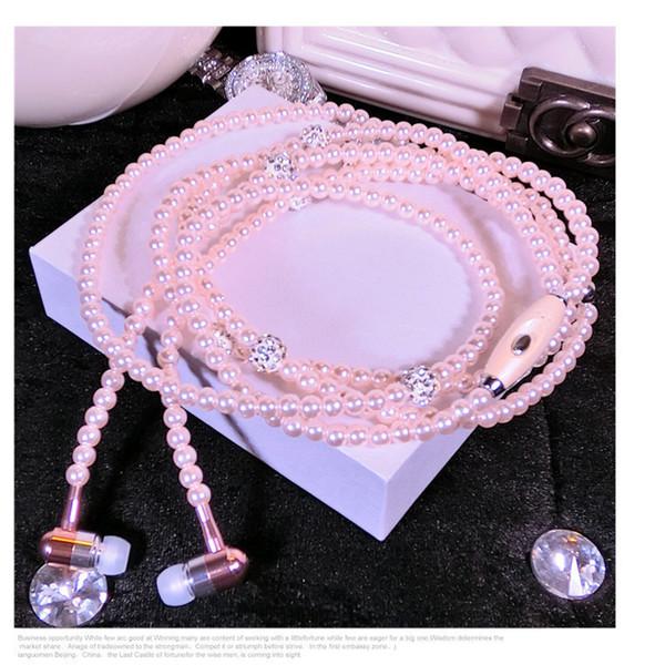 Luxury Rhinestone Jewelry Pearl Necklace Earphones With Microphone Pink Girl Earbuds Headphone For Iphone HuaWei XiaoMi Best Girft EAR350