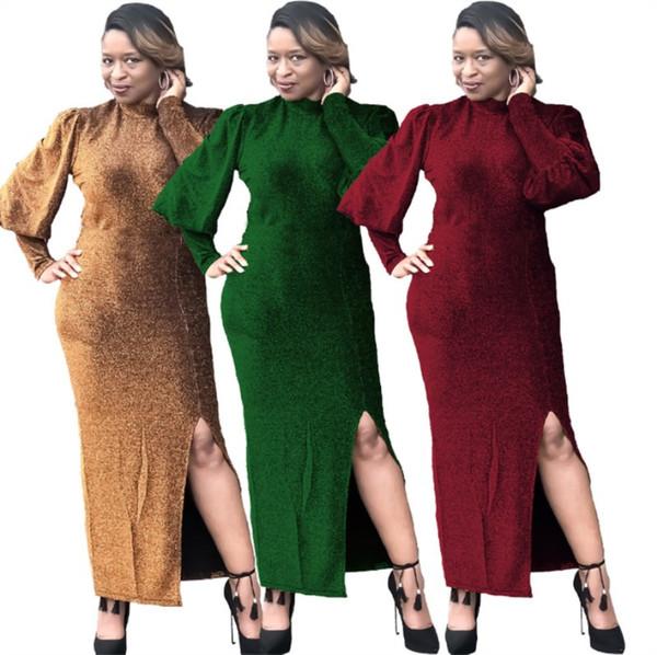 Womens Дизайнер полный миди платье юбка с длинным рукавом цельные платья Повседневная Сплит Платья ночная одежда женская одежда klw2250