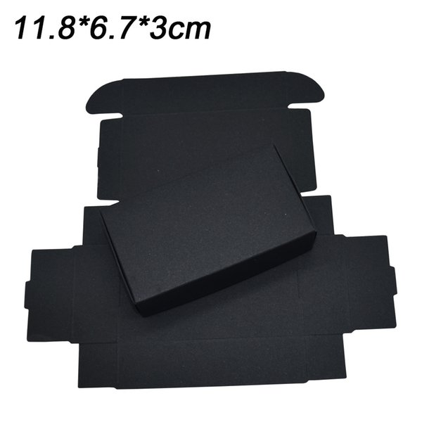 11.8x6.7x3cm Black Flat Packing Paper Box Wedding Candy Bakery Baking Diy Soap Craft Gift Packaging Kraft Paper Box for Party Decoration