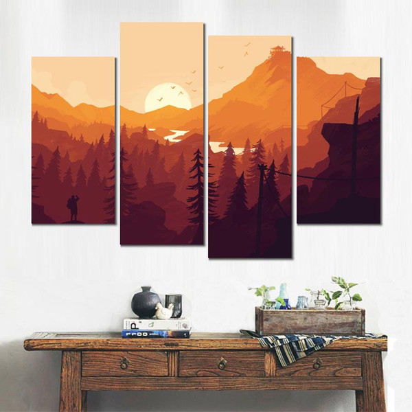 firewatch game 4 sets canvas printed painting wall pictures for living room modern decor