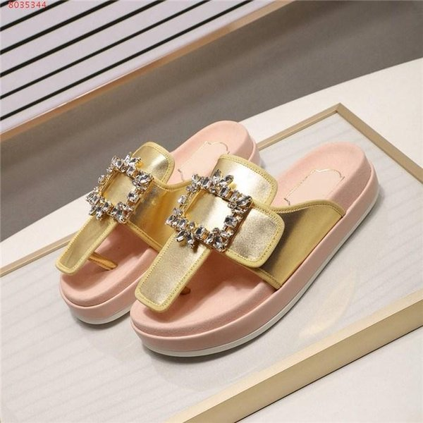 New square buckle toe Thick bottom Satin sponge bottom Casual wear Rhinestone Silk fashion and comfort Woman slippers
