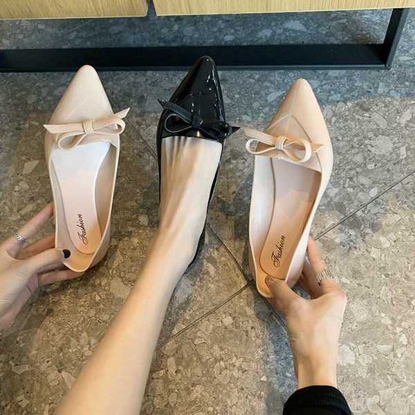 Sweet Womens Patent Leather Pointed Toe Bowknot Slip On Casual Date Shoes Size 8