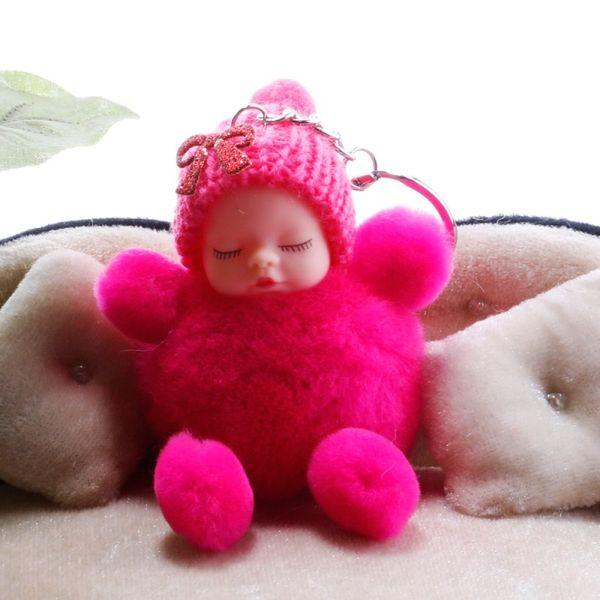 Cute Sleeping Baby Doll Bag Pendant Accessories Keychains Pompom Rabbit Fur Ball Key Rings Car Key Rings Women Key Holder 12 Styles H598Q