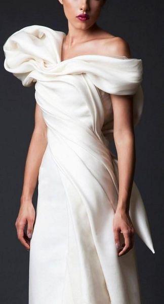 Big Bow dubai arabic Women Formal Wear Cheap Unique Design prom Dresses New White Long Court Train Ruffles Backless Evening Gowns 258