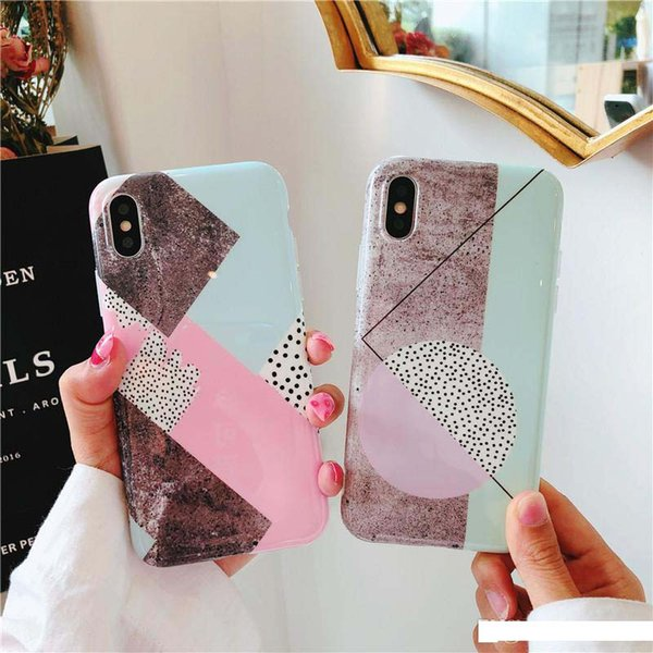 New Design Summer Style Fashion IMD Rhombus Pattern Marble Case Soft TPU Mobile Phone Cases for iPhone X 6 6S 7 8 Plus