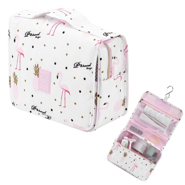 Flamingo Travel Hanging Toiletry Makeup Cosmetic Bag Organizer For Women Men Large Toiletry Kit Make up Pouch Beauty Case Big