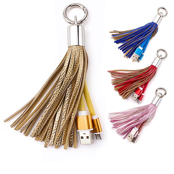 QiChen Glands Câble De Données De Recharge Portable Porte-clés Micro USB Sac Court Sac Décoration Chaîne Sync Cordes De Charge Ligne Pour Samsung Note8 iPX 8P