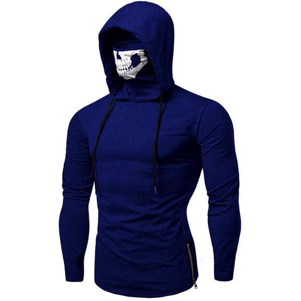 Pop 2019 ISHOWTIENDA 2019 Amazing Mens Mask Skull Pure Color Pullover Long Sleeve Hooded Sweatshirt Tops Blouse Hot Sell Sweatshirt
