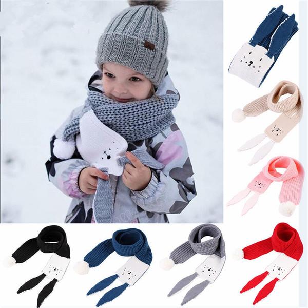 Cartone animato Sciarpa per bambini Inverno Caldo Coniglio a maglia Orecchio Sciarpe lunghe Ragazzi Ragazze Bambini Solido Morbido Scialli Avvolge TTA1722