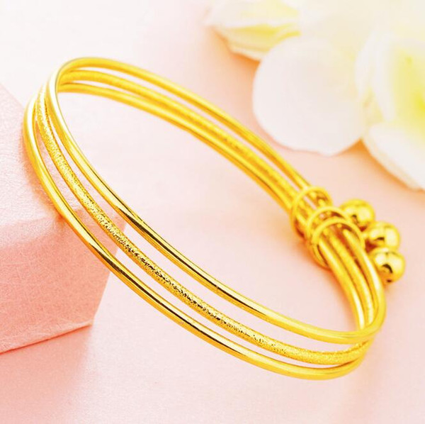 best selling Girls thin 3pcs bangles set Bracelet 18K gold bracelet Bangles Women wedding Bracelet Couple Jewelry factory wholesale