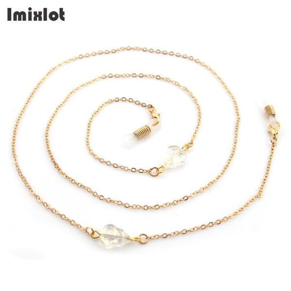 Fashion Glass Crystal Leaf Eyeglass Chains Sunglasses Reading Beaded Glasses Chain Eyewears Cord Holder Neck Strap Rope