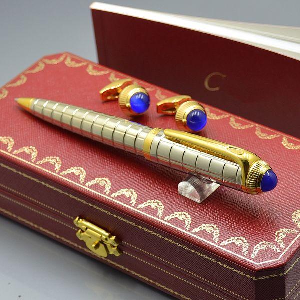 Top presente de aniversário de luxo - Carties Branding escrita caneta esferográfica + homem francês abotoaduras para jóias Cuff links com caixa Original embalagem