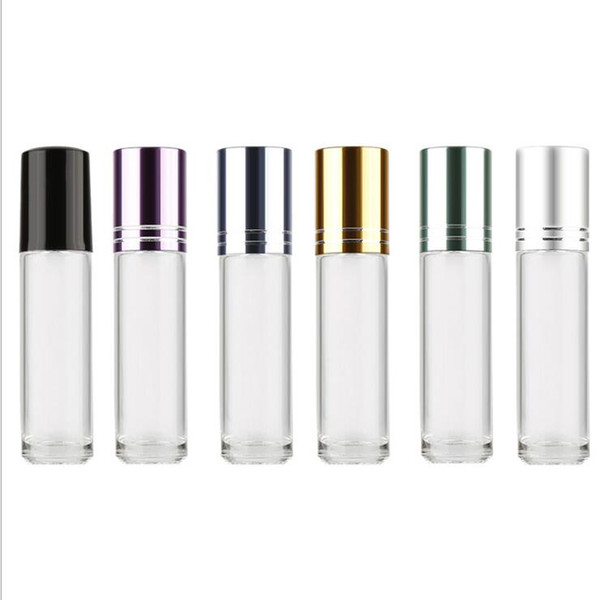 wholesale 5ml Glass Refillable Perfume Bottle Roller Ball Thick Empty Cosmetic Containers With Roll For Travel
