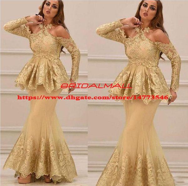 Modest Gold Arabic Evening Dresses Formal Mother Dress 2019 Peplum Halter Neck Long Sleeve Lace Party Gowns Appliques Prom Dresses Vestidos