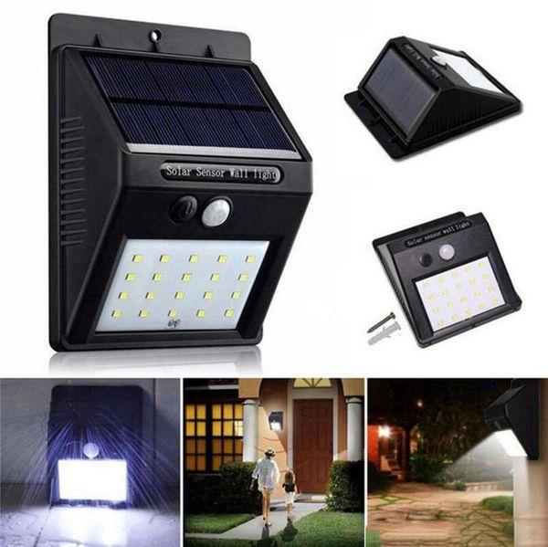 20 LED Impermeabile IP65 Solar Powered Wireless PIR Sensore di movimento Luce Outdoor Garden Landscape Cortile di sicurezza Lampada da parete b551