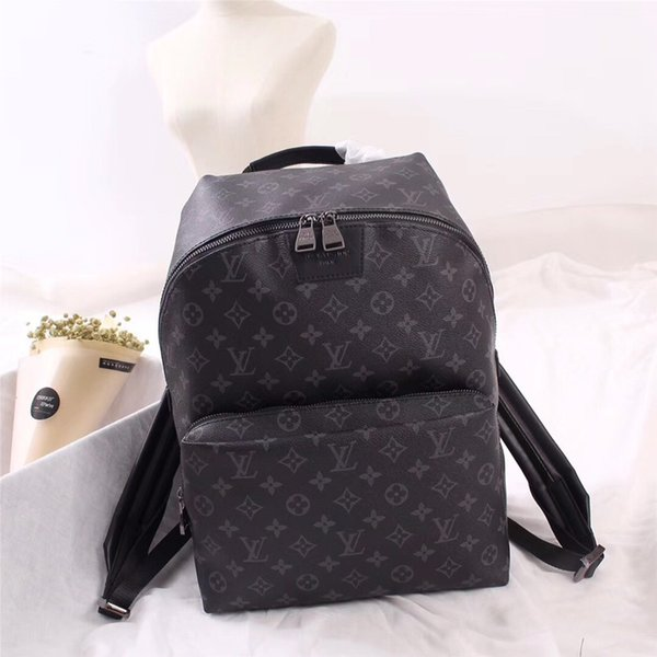 mochilas de la marca de cuero bolsa de la escuela mochila medio bolsa europea y americana de lujo de estilo mochila de viaje hombro doble Negro