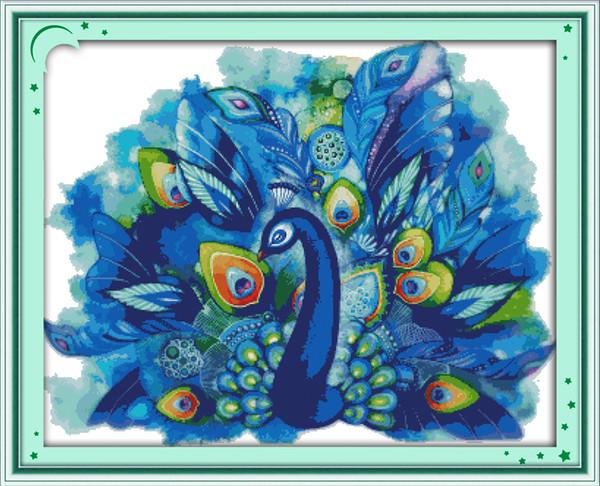 Color Blanco Dimensiones Azul Pavo Real de Punto de x-Stitch