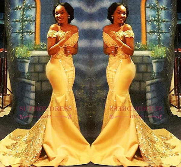 African nigerian yellow mermaid prom dre e 2018 off houlder lace equined atin evening prom gown arabic dre e, Black