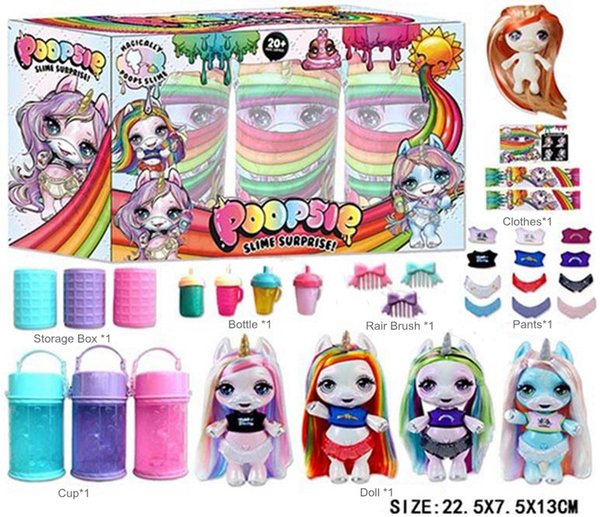 13cm Surprise Unicorn Dolls with Hair Brush Bottle Cup Shirt Diaper PVC Kawaii Novelty Action Figures Dolls for Girls kids toys 360pcs/lot