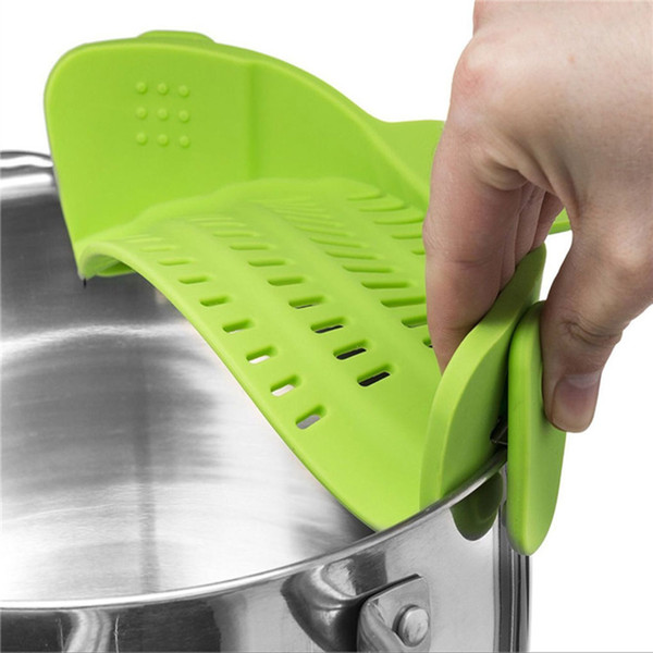 New Silicone Pot Pan Bowl Funnel Strainer Kitchen Rice Washing Colander Soup Funnel Filter Heat Resistant Funnel Strainer wh0919