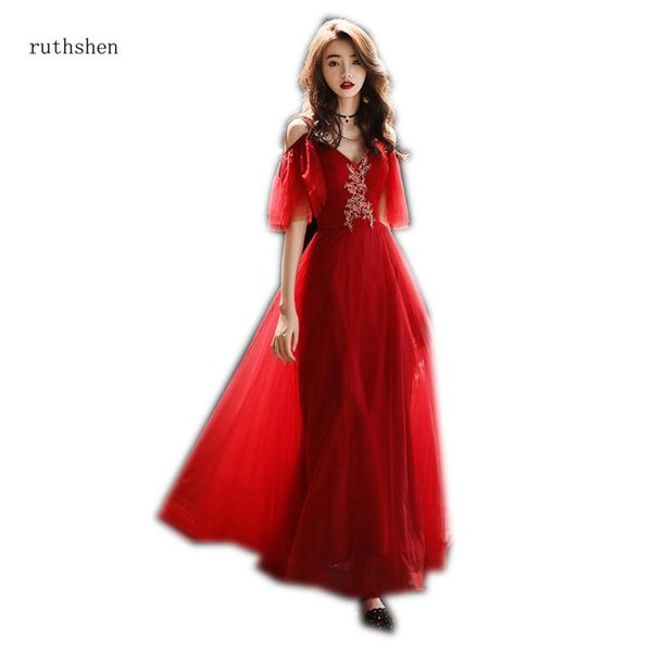 wholesale Long Red Prom Dress Sexy V-neck Off The Shoulder Half Sleeves Tulle Vestido De Festa Curto Long Prom Gowns 2018 New Hot