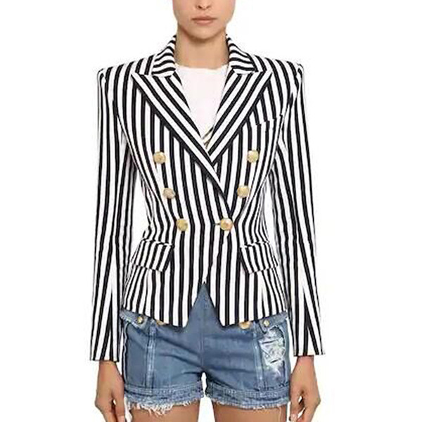 TOP QUALITY Newest Stylish Designer Blazer Women's Lion Buttons Double Breasted Classic Striped Print Blazer Jacket Striped slim suit 1