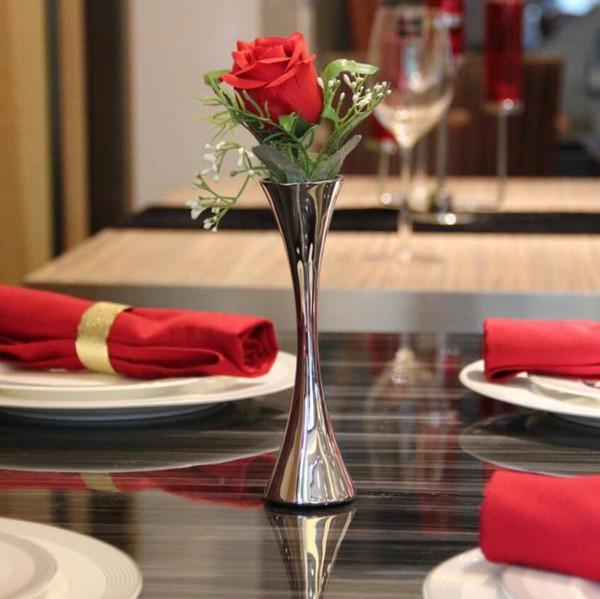 Europäische Single Round Port Blumenvasen Mode Edelstahl Vase Home Decor Ornamente Zubehör für Wohnzimmer MMA1246