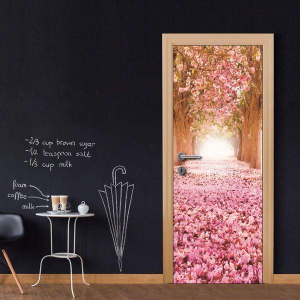 Free shipping DIY Door Sticker Pink Flower Road door decals decorations for Bedroom Living Room wallpapers Decal home accessories