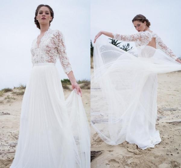 Fairy Lace Beach Wedding Dresses Long Sleeves Backless A Line Long Soft Tulle Bohemian Boho Wedding Gowns Cheap Simple Bridal Dress