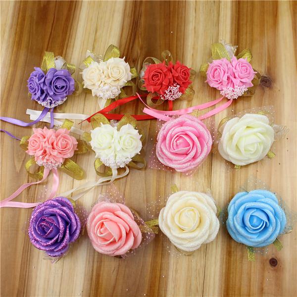 Artificial Flowers PE Foam Rose Wedding Wrist Flowers For Wedding Decoration Multi Colors Bridesmaid Corsages Hand Flower