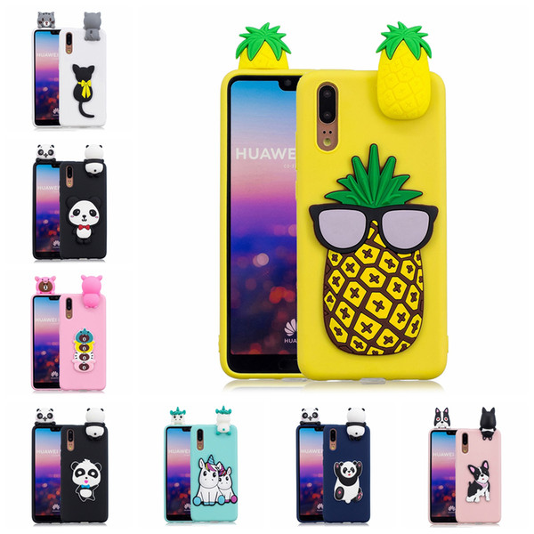 Back Case for Huawei P20 TPU Cover Pasted 3D Funny Animal Panda Sticking a Little Doll 61 Models Option